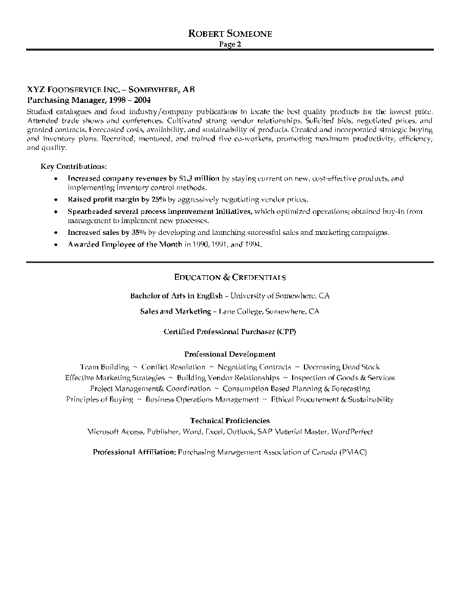 How Do I Create A Canadian Style Resume Settlementorg Purchasing Manager Resume Sample Page 2 Canadian Resume