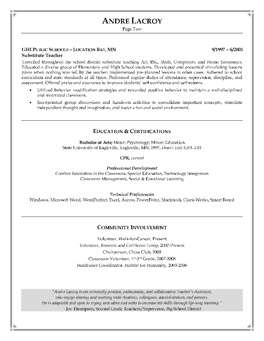 resume samples teacher aide create professional resumes online resume samples teacher aide teacher resume samples o resumebaking teachers assistant resume sample page 2