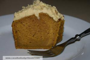 Slice Mr.CBB's Pumpkin Spice Pound Cake with Brown Butter Buttercream