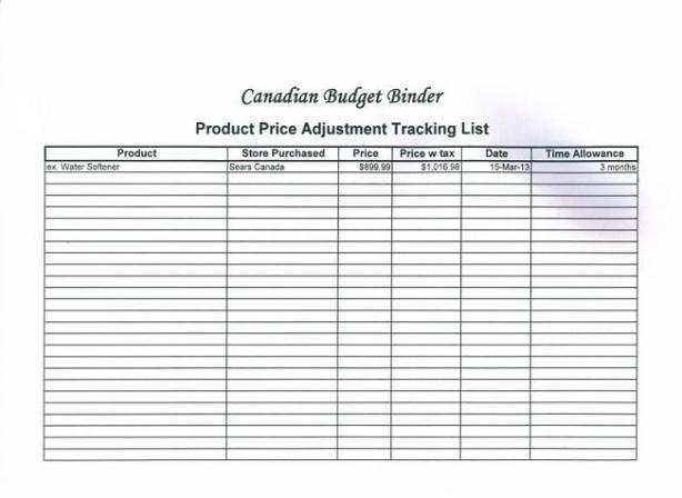product price adjustment tracking sheet 013