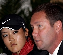 Mike Whan with CN Canadian Women's Open champ Michelle Wie.