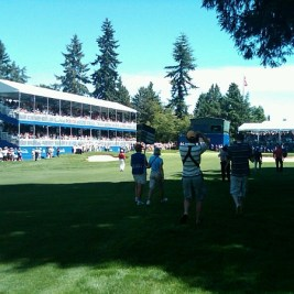 Adam Hadwin walks up the 18th hole today at the RBC Canadian Open.
