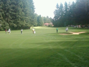 Shaughnessy: Mike Weir, Luke Donald and Matt Kuchar on 4th hole at Shaughnessy yesterday.