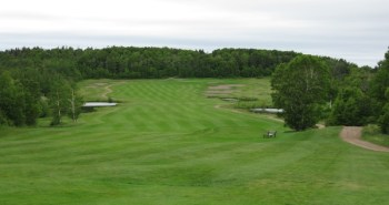 The par five 8th hole at Portage -- overdone, but demonstrates the land the property has to offer.