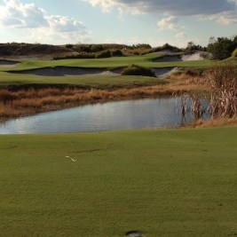 The 12th on the blue course was one of the few to use water.