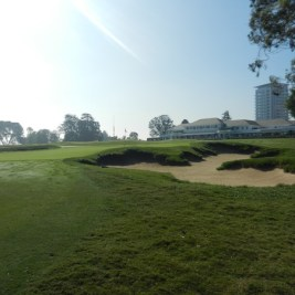The ninth hole at Los Angeles Country Club's north course, showing the fine restorative bunker work undertaken by Gil Hanse and Geoff Shackelford.