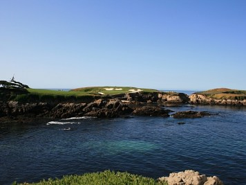 The 16th hole is arguably the most famous par three in the world.