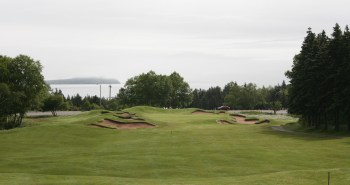 The restored 15th with its spectacular downhill approach.