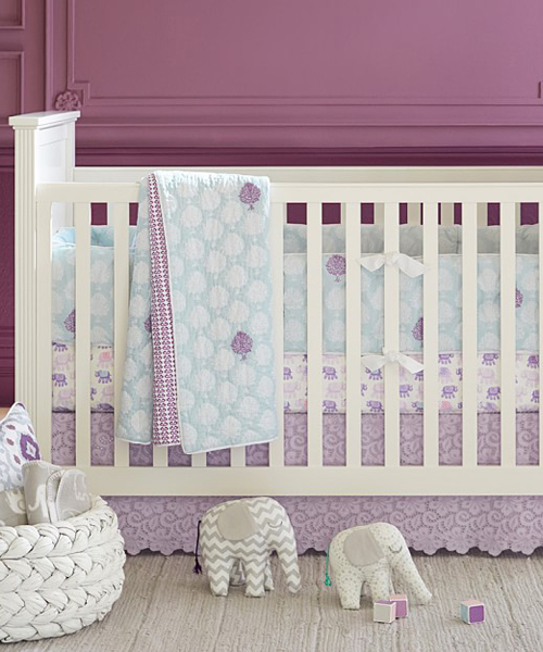 Stella Baby Bedding Baby Girl Bedding Set Pink Green Flowers
