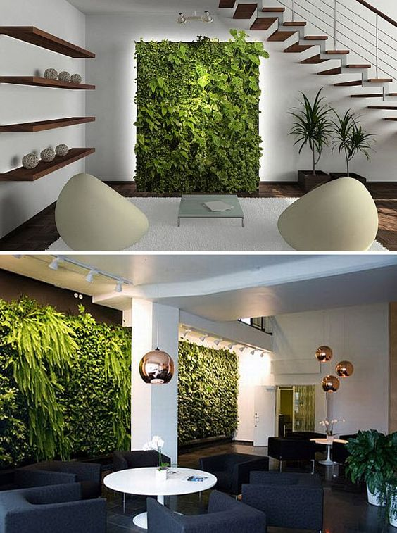 Decoraci n de interiores ideas con plantas espejos y m s for Plantas verticales de interior