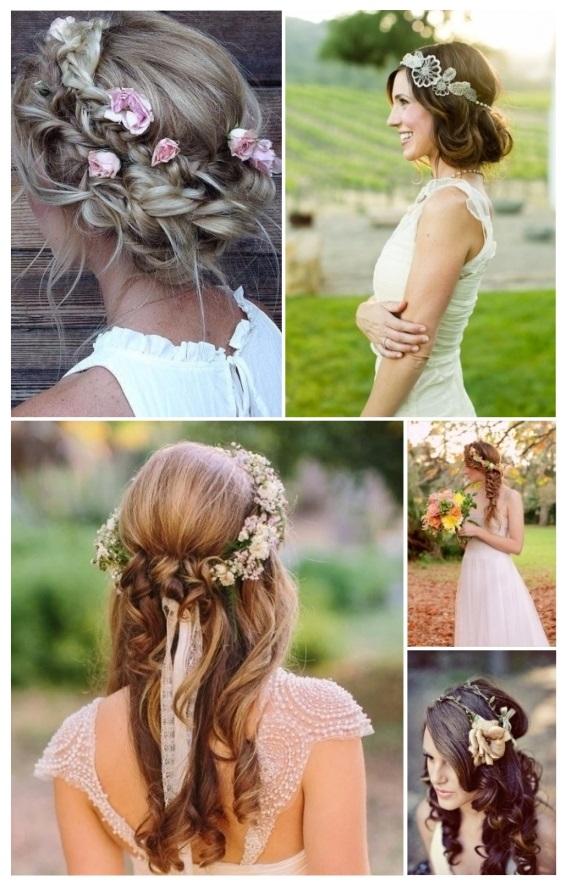peinados de novia con corona de flores naturales