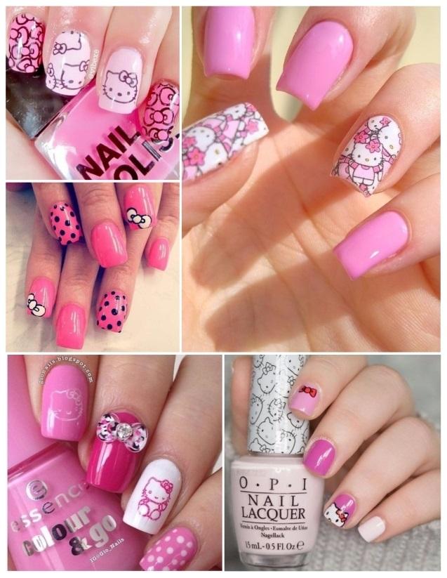 como pintar las uñas de hello kitty