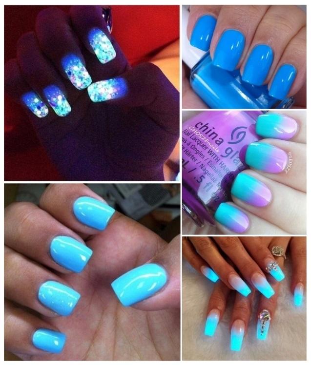 decoración de uñas azul