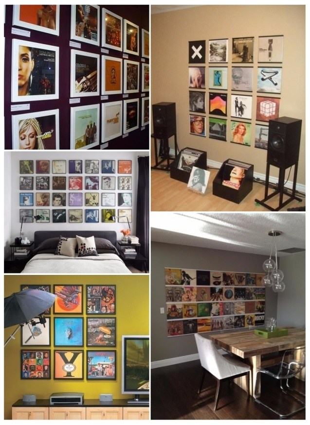 ideas para decorar paredes con discos de vinilo