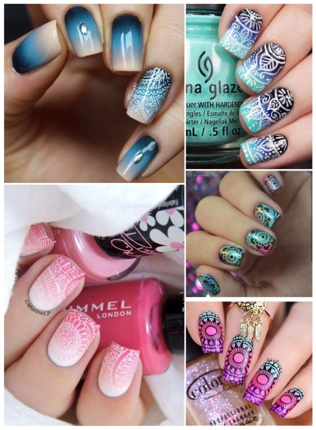 uñas decoradas con mandalas degrade