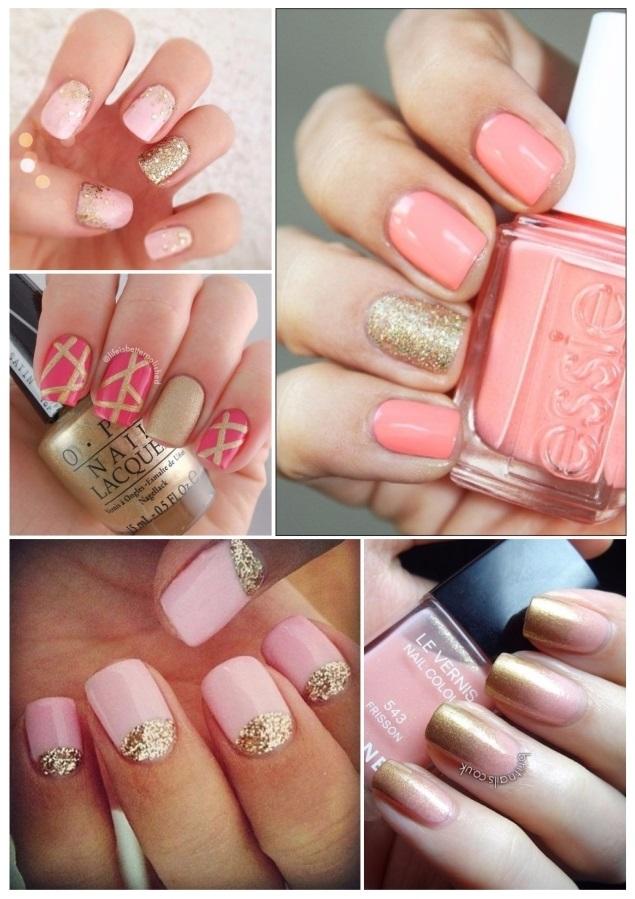 como decorar uñas doradas