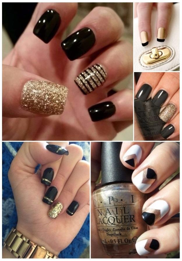 uñas negras blancas y doradas