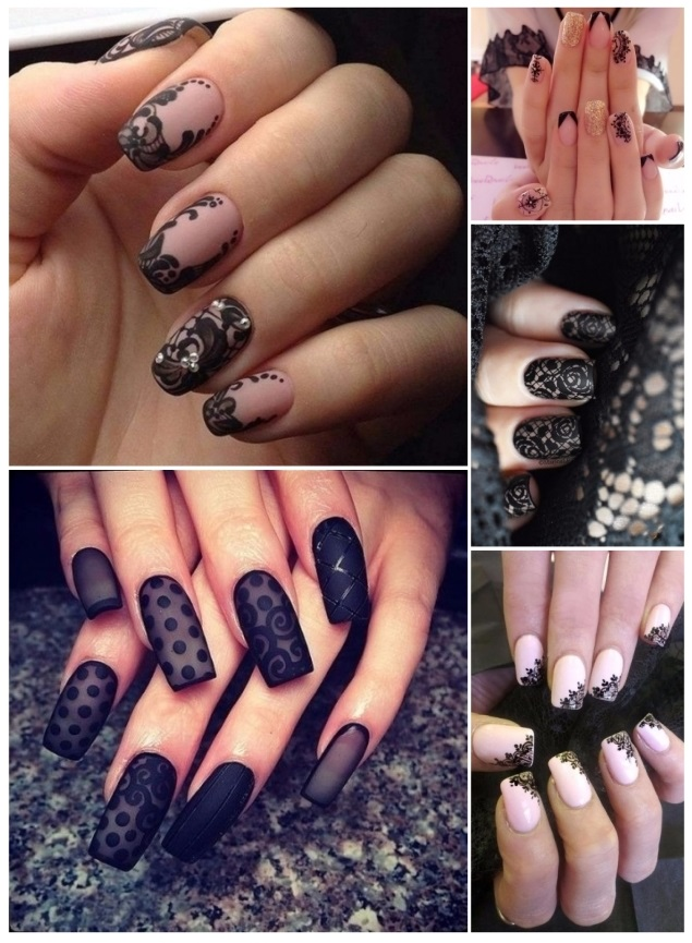 como decorar uñas con encaje