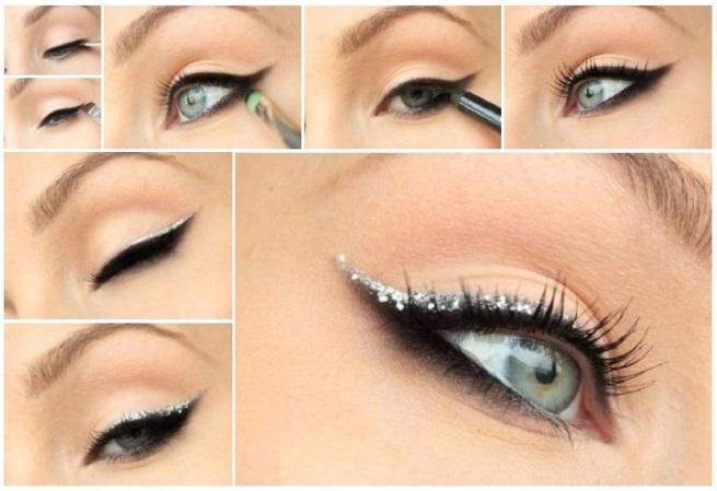 maquillaje plateado de día