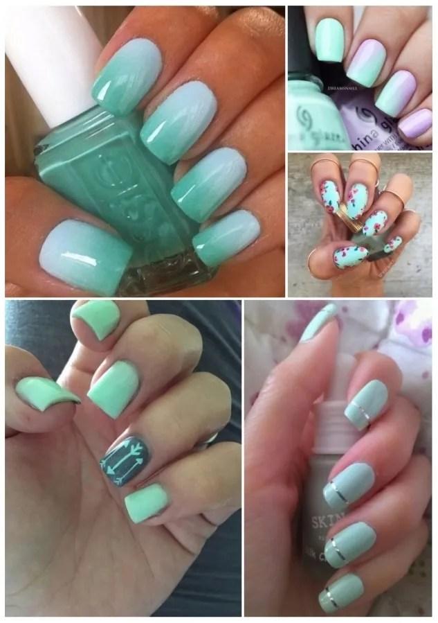 diseños de uñas acrilicas verdes