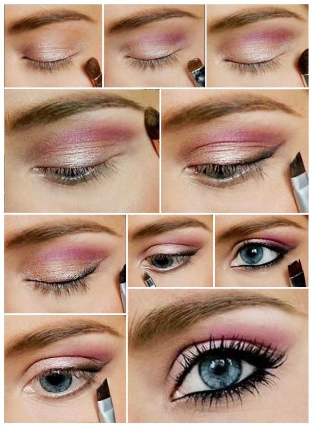maquillaje rosa y morado