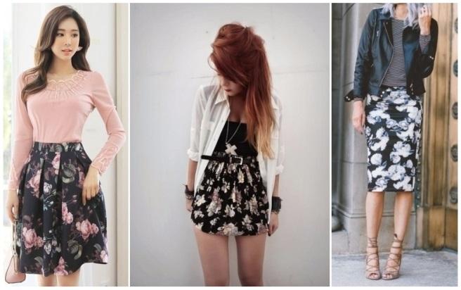 como combinar una falda negra con rayas blancas
