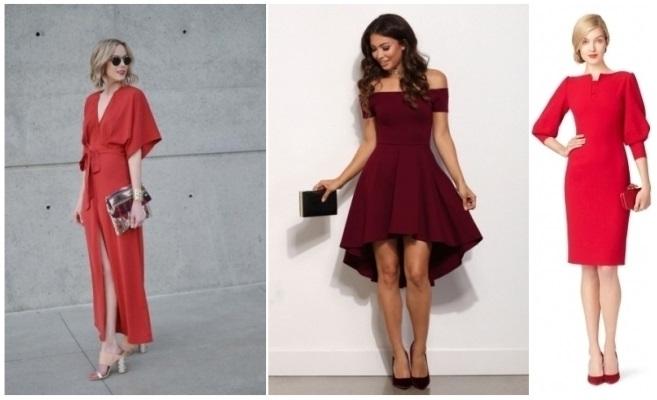 como combinar un vestido rojo quemado