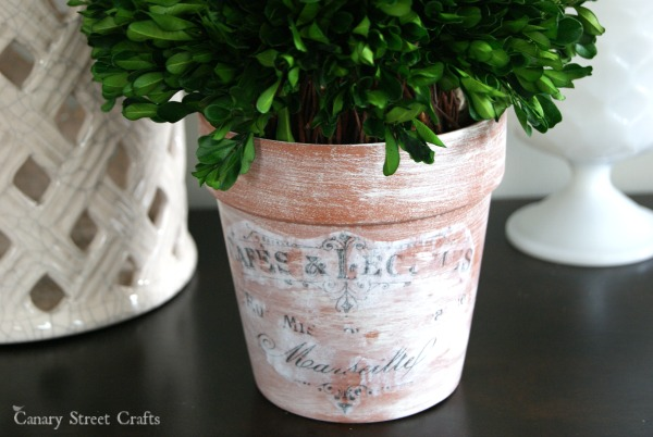 Easily transform a plain flower pot with paint and mod podge to create these Vintage Inspired Flower Pots. {Canary Street Crafts}