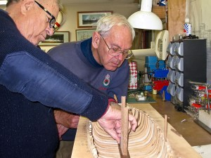 Max and Edwin making sure the forward keelson segment fits properly against the drop-keel housing
