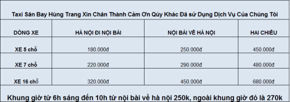 bảng giá cước taxi sân bay giá rẻ nhất Hùng Trang