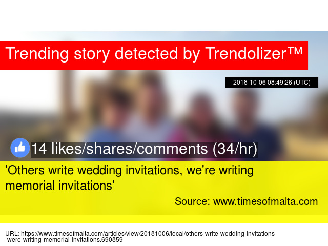 #039;Others write wedding invitations, we#039;re writing memorial