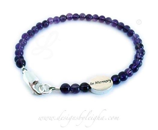 Simple Gemstone Awareness Bracelet Amethyst In Memory