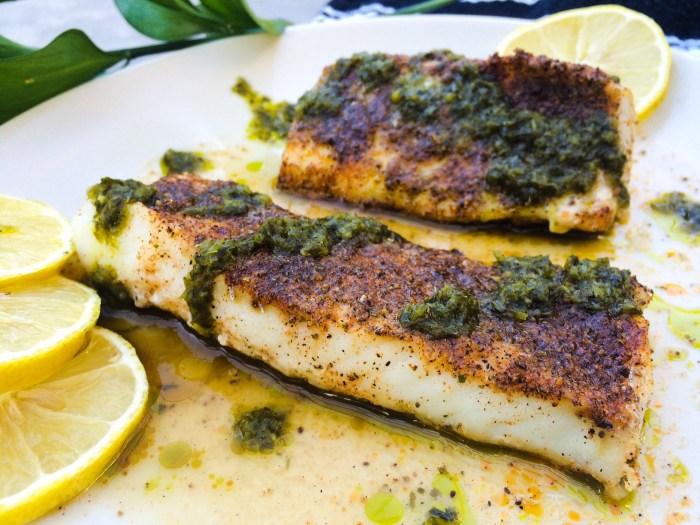 Recipe: Cajun Roasted Cod with Lemon, Cilantro Sauce   Paleo, Whole30, Low-Carb