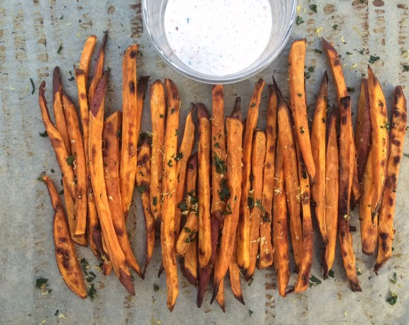 baked sweet potato fries with aioli