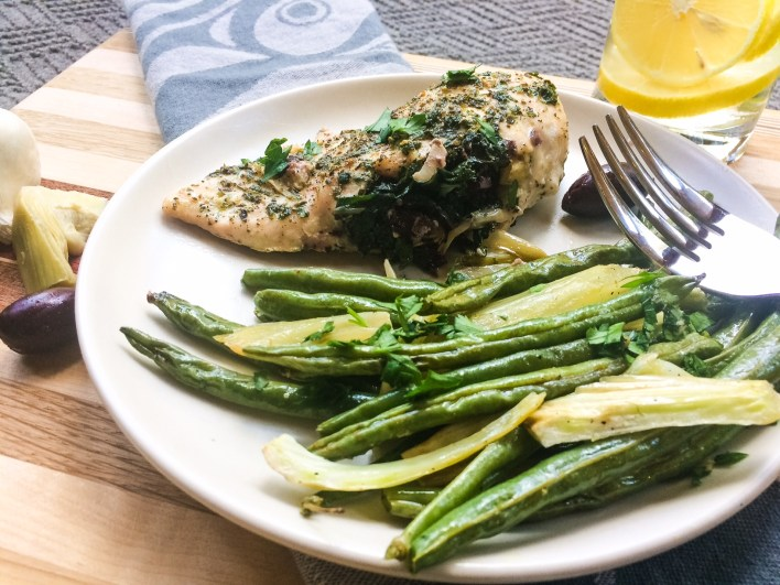 RECIPE: Kale & Olive Stuffed Chicken with Green Beans & Fennel | Paleo, Whole30, Low-Carb | by Candace Kennedy