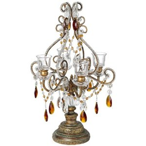 Bronze-Gold and Amber Beaded Votive Candelabra