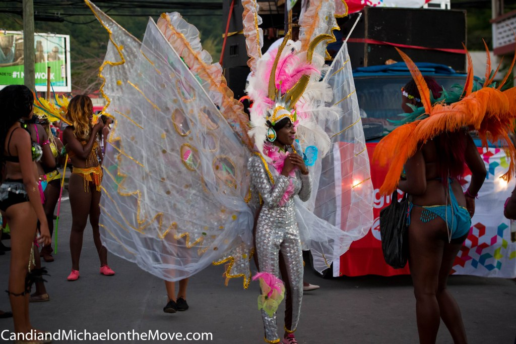 The Carnival Queen first runner up dancin' to the music in one of the Mas (parades)