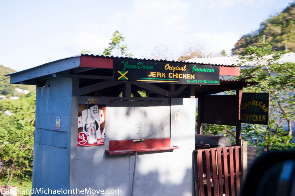 This is the Jamaican Jerk Chicken stand when  it is closed.  There is no way to take a picture, and live, when he is open.  It's that crazy.