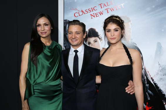 "From left, Famke Janssen, Jeremy Renner, and Gemma Arterton arrive at the Los Angeles premiere of ""Hansel and Gretel Witch Hunters"" held at Grauman's Chinese Theatre on Thursday, January 24, 2013 in Hollywood, Calif. (Photo by Alex J. Berliner/ABImages)"