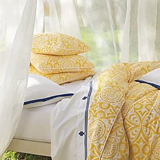 Serena & Lily Marni Duvet in Yellow and White. SerenaandLily.com