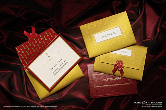 The stunning Oscars Winner's Envelope created by invitation designer Marc Friedland. Image courtesy of Marc Friedland Couture Communications.