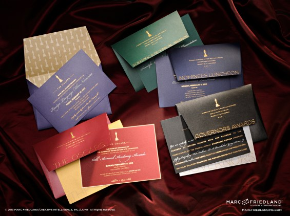 The beautiful nominees luncheon, there's the Scientific & Technical Awards, the Foreign Language Reception, the Governors Awards invitations (in no particular order) Marc Friedland created. Image courtesy of Marc Friedland Couture Communications.