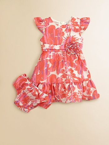 Infant's Ruffled Floral Print Dress & Bloomer Set. Saks Fifth Avenue