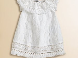 Dolce & Gabbana Infant's Crochet Dress in White. Saks Fifth Avenue