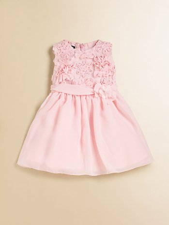 David Charles Infant's Embroidered Rosette Chiffon Dress in Light Pink. Saks Fifth Avenue Easter