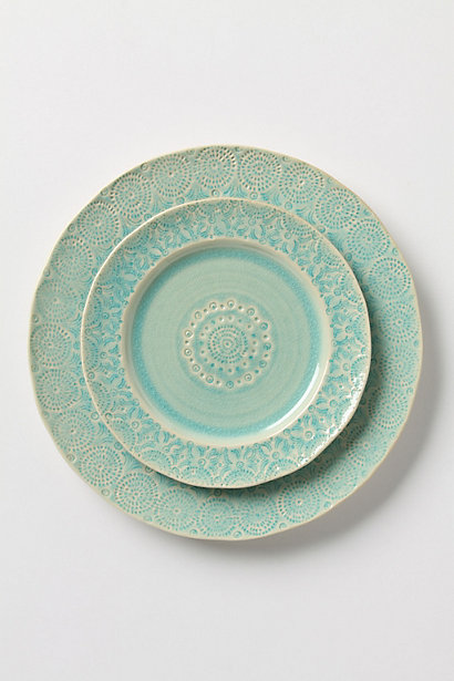 Old Havana Dinnerware: Dinner Plate, Salad Plate in Mint. Anthropologie