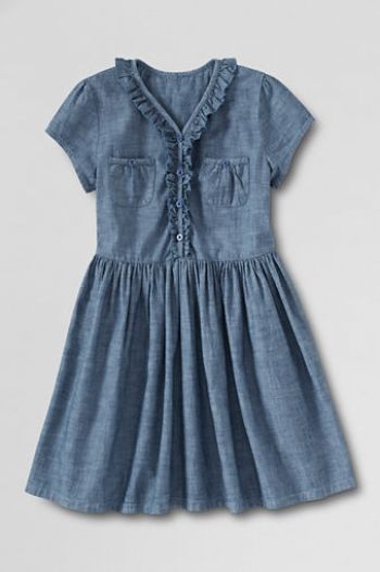 Toddler Girls' Chambray Front Pocket Dress. LandsEnd.com Easter