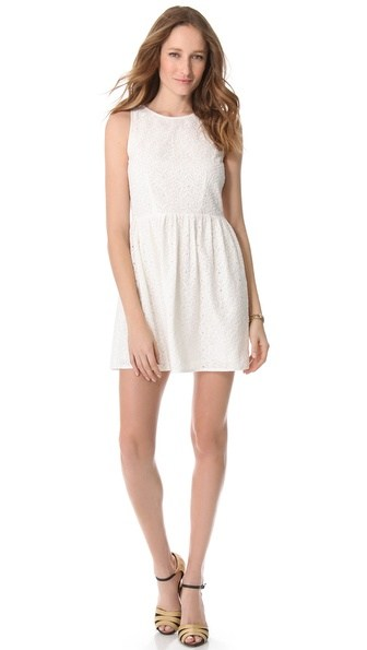 Joie Soleil Eyelet Dress in Dusty Pale Lemon or Porcelain. Shopbop