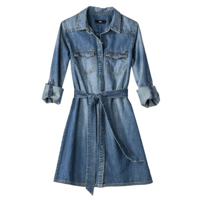 Mossimo Petites 3/4-Sleeve Faded Denim Blue Shirt Dress with Belt. Target