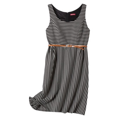 Merona Women's A Line Stripe Dress with Belt in Black, Black Cat or Black Opaque. Target